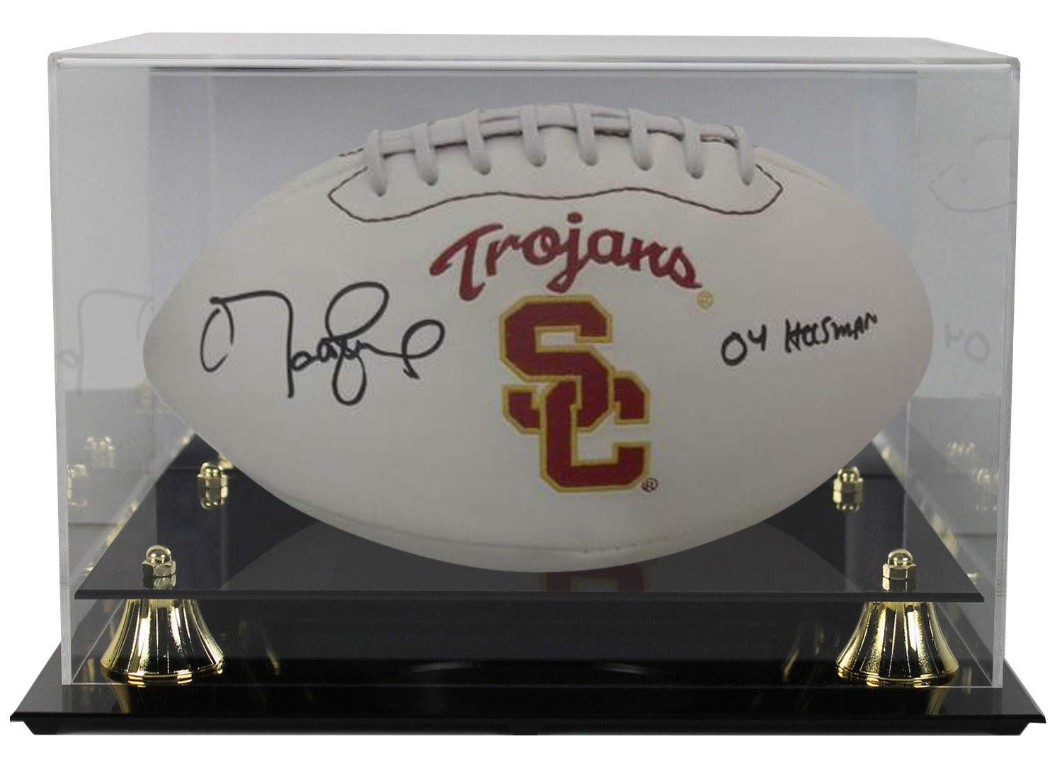 Matt Leinart Autographed Signed USC Trojans Logo Football Heisman JSA With Deluxe Acrylic Football Display Case