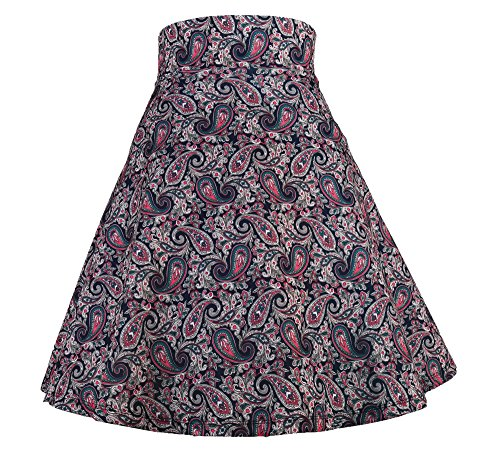 Modeway Women Floral Casual Knee Length Pleated Skater Skirt (XXL, Paisley) J9-5 ()