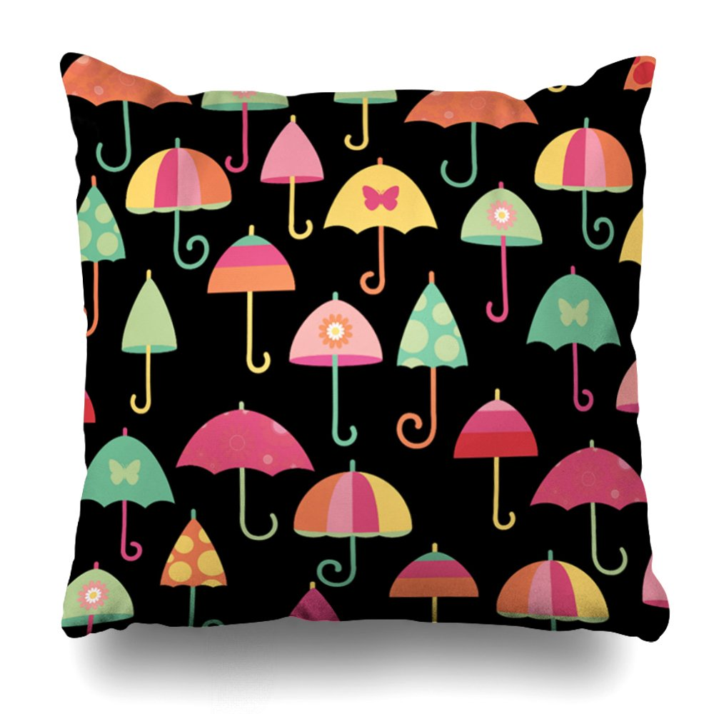 ONELZ Colorful Umbrellas Square Decorative Throw Case, Fashion Style Zippered Cover (20X20 inch)