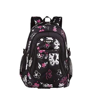 Gran tamaño Floral impresión niños Mochila niñas niños Mochilas Escolares para Adolescentes niñas Mochilas niños Mochila Black Backpack: Amazon.es: Equipaje