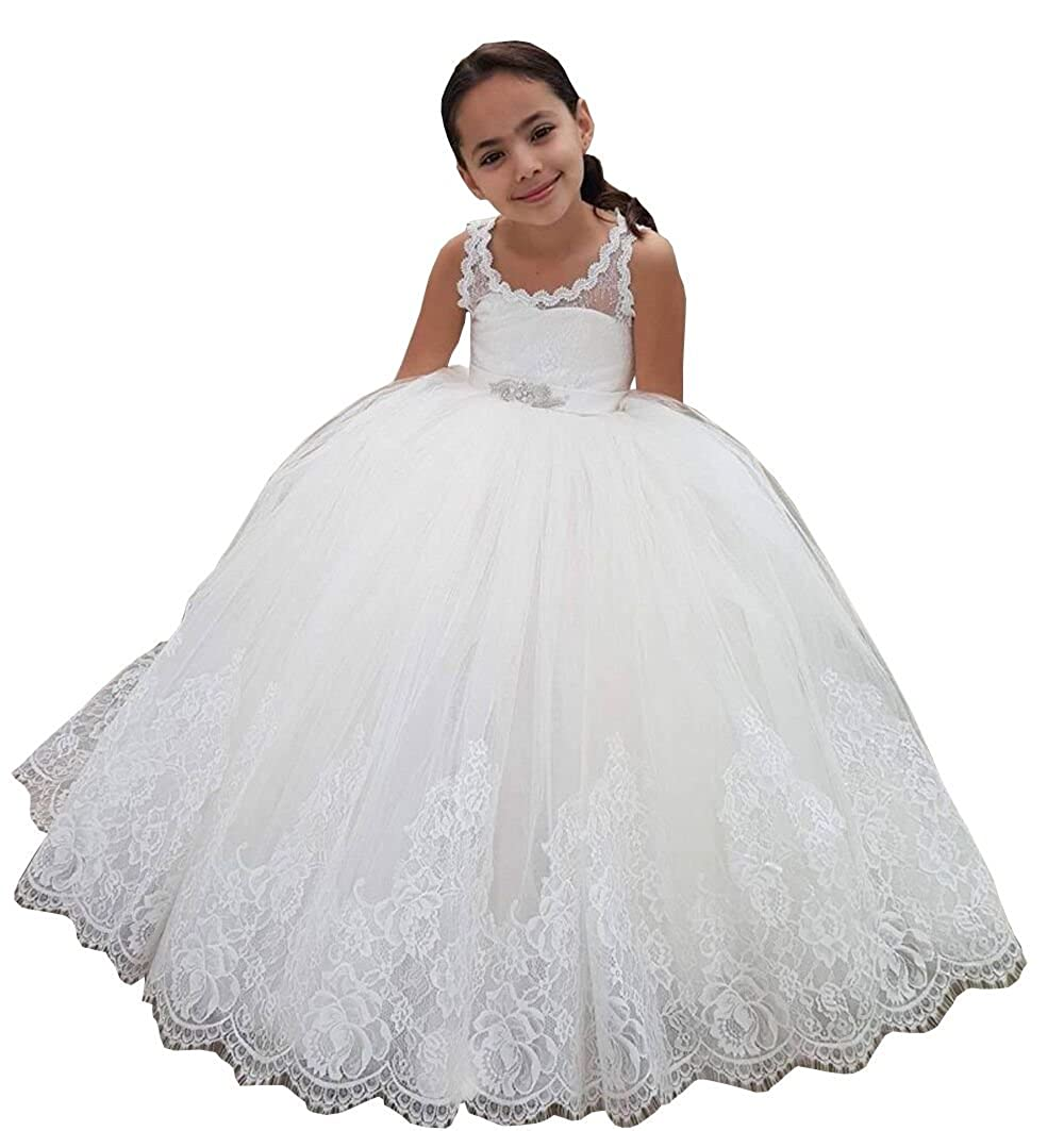Banfvting Teens Ball Gown Flower Girl Dress Lace-Up