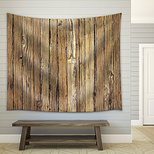 Old Weathered Wood Background and Natural Distressed Antique Planks Fabric Wall Tapestry