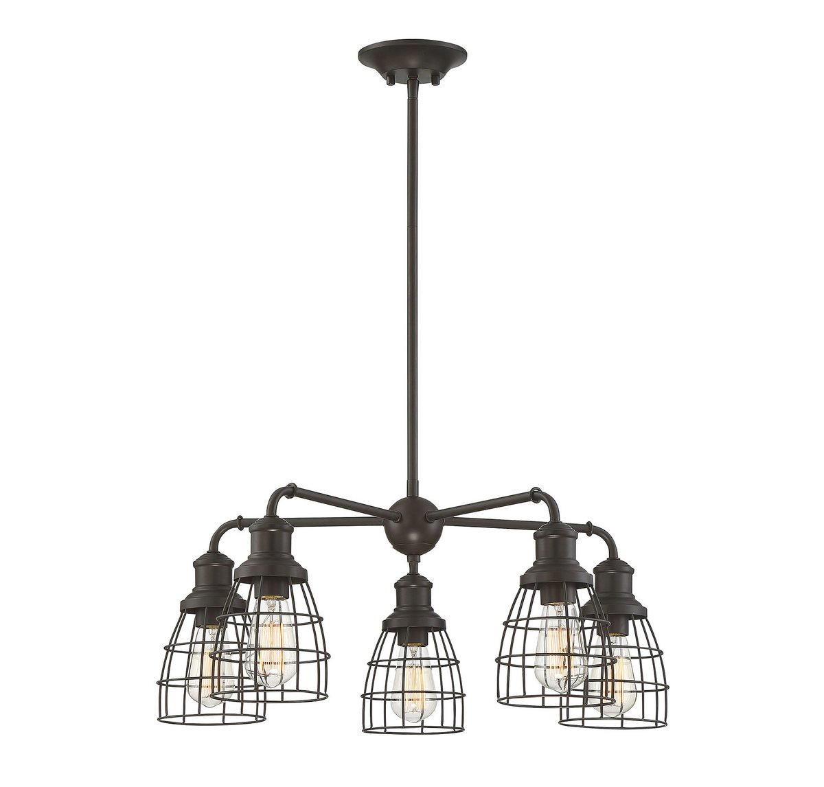 Trade Winds Lighting TW10053ORB 5 Light Vintage Industrial Hanging Cage Pendant Chandelier with Metal Wire Shades, 60 Watts, in Oil Rubbed Bronze by Trade Winds Lighting