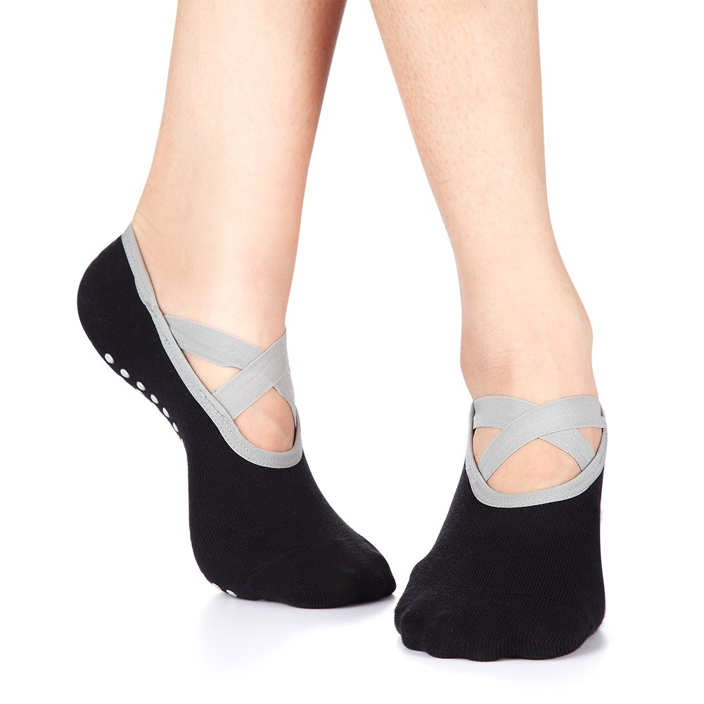Yoga Socks for Women Non-Skid Socks with Grips Anti-Skid Pilates Socks (2 pairs Black2) by Huisen (Image #5)