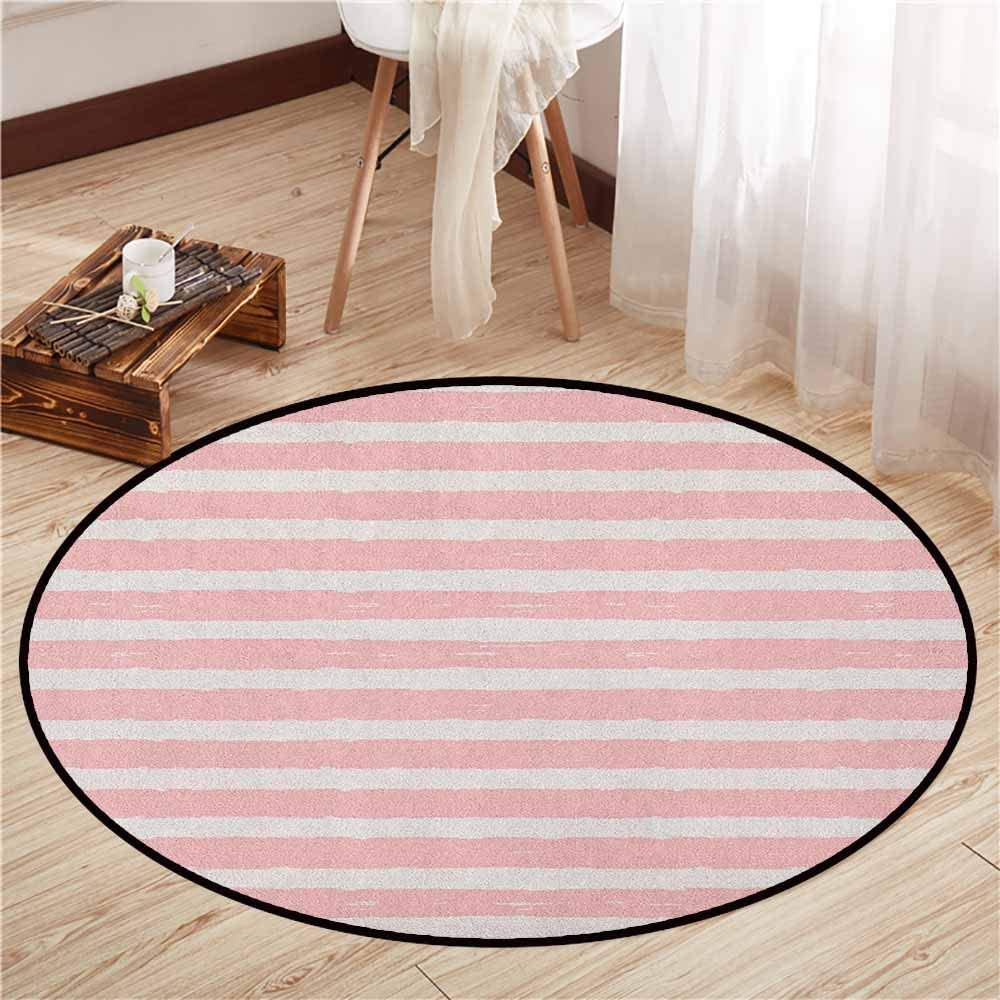 "Round Carpet,Kids,Paint Brushstrokes in Horizontal Direction Pastel Color Pattern for Girls Kids,Children Bedroom Rugs,4\'11"" Blush Baby Pink"