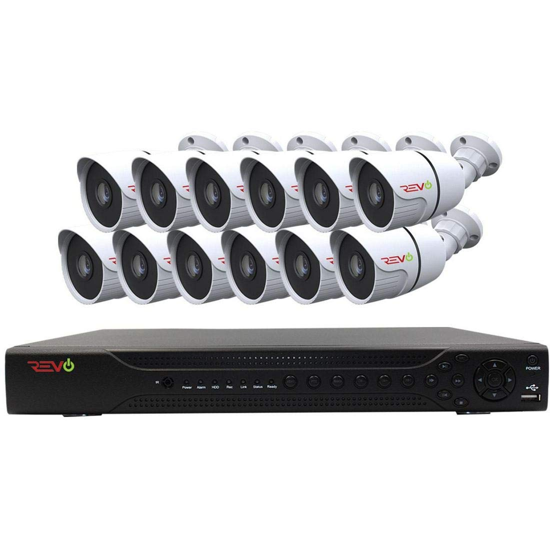 Revo America AeroHD 16Ch. 4MP DVR, 2TB HDD Video Security System, 12 x 1080p IR Bullet Cameras Indoor Outdoor – Remote Access via Smart Phone, Tablet, PC MAC