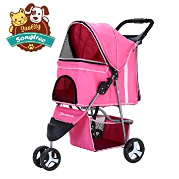 Songtree - Carrito Plegable Impermeable para Mascotas Perros Gatos Animales Pequeños Color Rosado 3 Ruedas Giratorios: Amazon.es: Productos para mascotas
