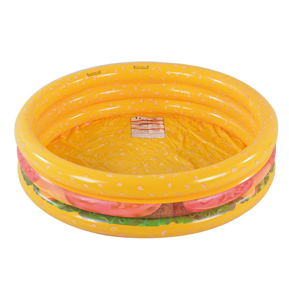 Kiddie Pool, Hamburger 3 Ring Inflatable Pool for Kids, Ideal Water Pool in Summer, 45 Inches Inflatable Swimming Pool, for Ages 3+