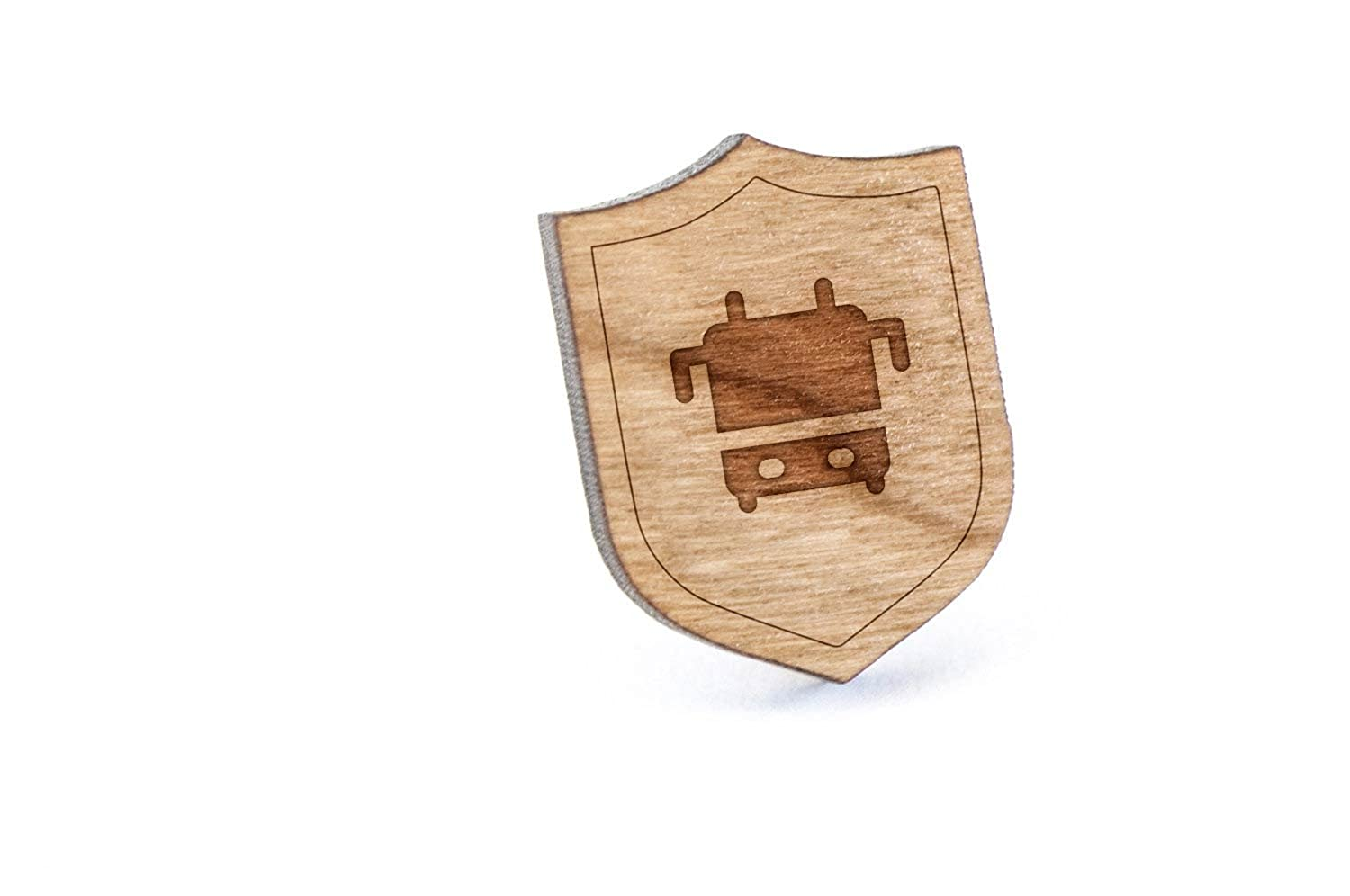 Tour Bus Lapel Pin, Wooden Pin And Tie Tack   Rustic And Minimalistic Groomsmen Gifts And Wedding Accessories