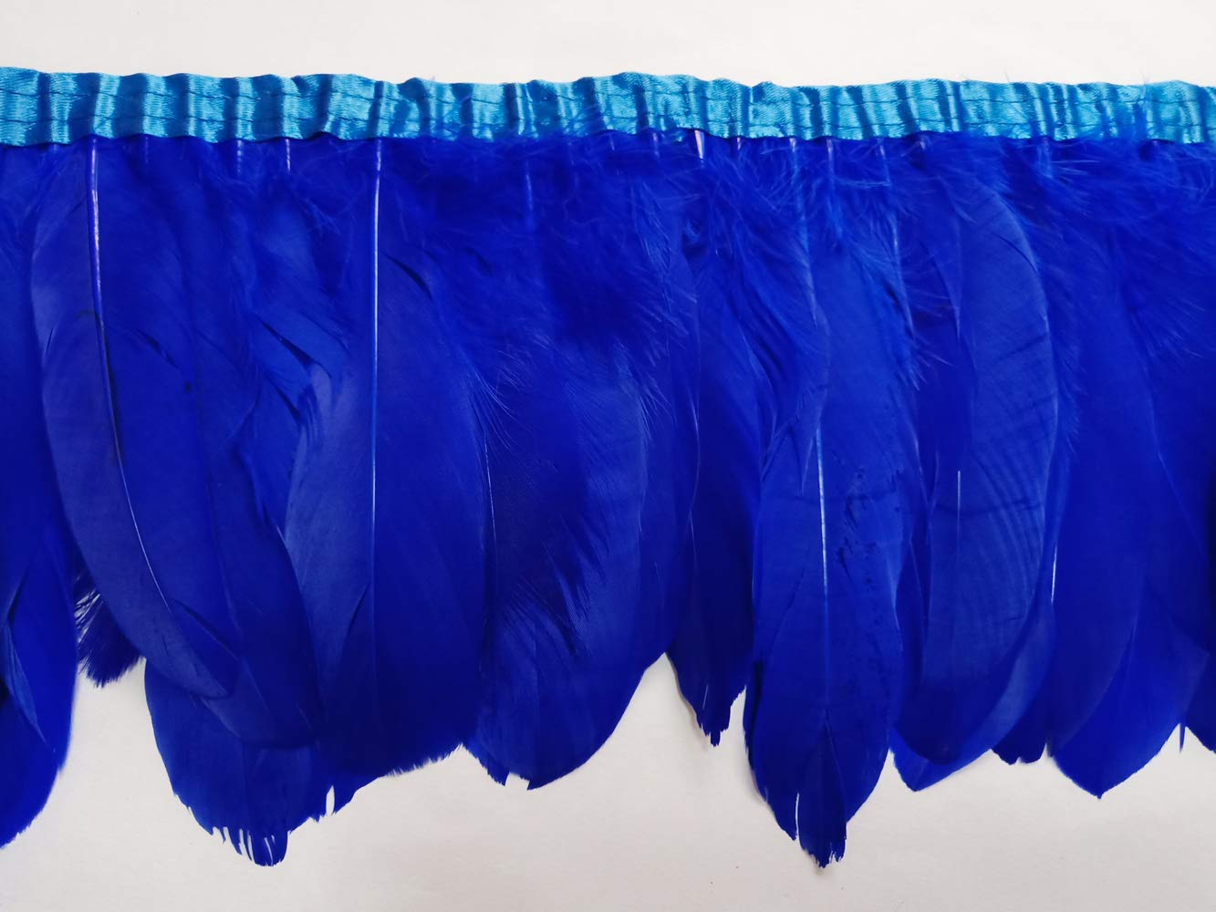wanjin Rooster Hackle Feather Fringe Trim craft feather 4-6 inch Width Pack of 2 Yards natural