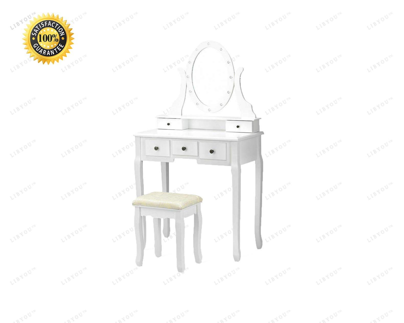 LIBYOU__Dressing Table,Drawers Makeup Dressing Table,Vanity Makeup Table Stool Set,Wood Makeup Table Stool Set,Wood Makeup Dressing Table,Mirror Makeup Table, Vanity Table Set,Makeup Dressing Table