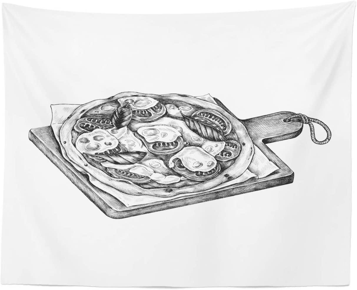 """Ambesonne Charcoal Grey Tapestry, Digitally Sketched Look of a Stone Oven Pizza Tasty Ingredients Illustration, Fabric Wall Hanging Decor for Bedroom Living Room Dorm, 28"""" X 23"""", White"""
