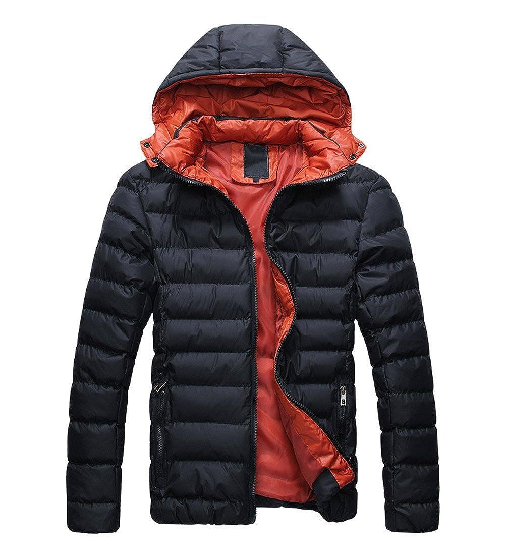 SODIAL (R) 2015 Uomo Cappotto Piumino di inverno cappotto Piumino da uomo caldo con cappuccio nero e rosso M 033255A1