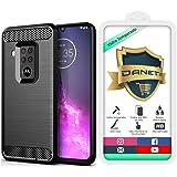 Kit Capa Capinha Anti Impacto Para Motorola Moto One Zoom Tela 6.4Case Com Desenho Fibra De Carbono E Película De Vidro Tempe
