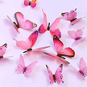 Butterfly Wall Decals, 24 Pcs 3D Butterfly Removable Mural Stickers Wall Stickers Decal Wall Decor for Home and Room Decoration (Pink)