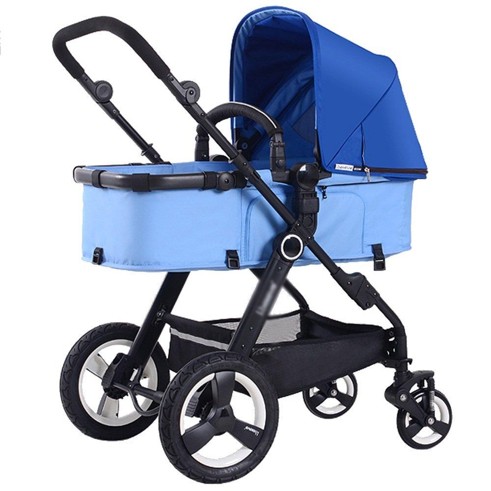 HAIZHEN マウンテンバイク ベビーチャイルドプッシュチェア/ベビーカー2in1キャリー付きベビーベッド 新生児 B07C6WTCP6 青 青