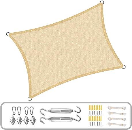 LL-WZB Toldo Vela de Sombra Rectangular y Transpirable Pergola Kit Transpirable para Patio, Exteriores, Jardín, Color Arena: Amazon.es: Hogar