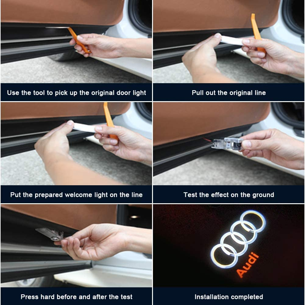 Grolish 4-Pack Easy Isntallation Car Door LED Lighting Logo Projectro Door Step Courtesy Lights For Audi Series