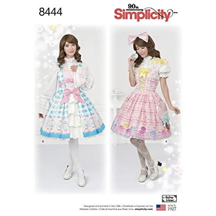 Amazon.com: Simplicity Pattern 8444 D5 Misses\' Lolita Costume for ...