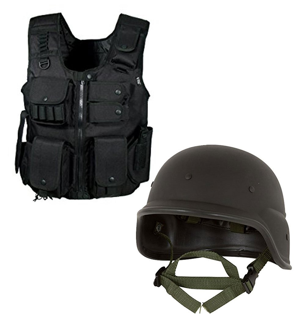 Bundle Includes 2 Items - UTG Law Enforcement Tactical SWAT Vest, Black and Tactical M88 ABS Tactical Helmet - With Adjustable Chin Strap - By Modern Warrior by UTG and Red Cup Pong