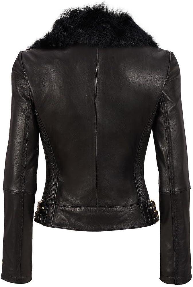 Travel Hide Womens Lambskin Leather Jacket Slim fit Biker Jacket TW032