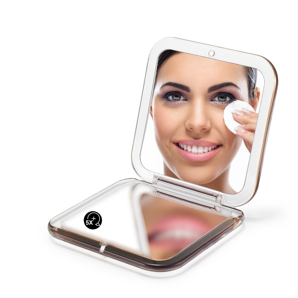 SQUARE COMPACT MIRROR, Double Sided PMMA Travel Makeup Mirror with 1x/5x Magnification and assorted colors (SILVER) Homia AB-138727