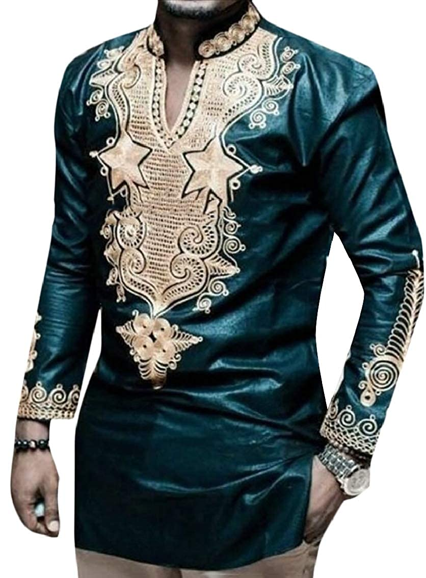 Mens Tops Tees African Print Stand Collar Long Sleeve T-Shirts