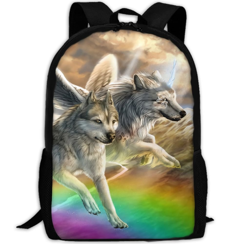 OIlXKV Fantasy Wolf Flying Over The Rainbow Bridge Print Custom Casual School Bag Backpack Multipurpose Travel Daypack For Adult