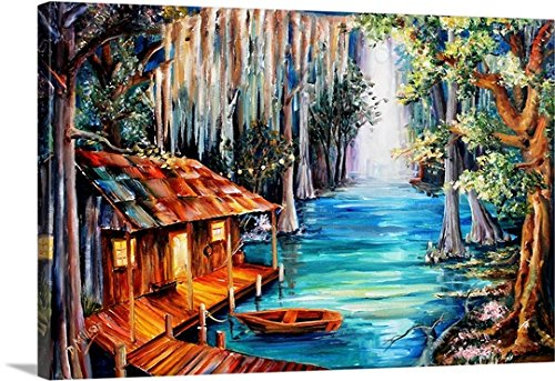 Diane Millsap Premium Thick-Wrap Canvas Wall Art Print entitled Moon on the Bayou