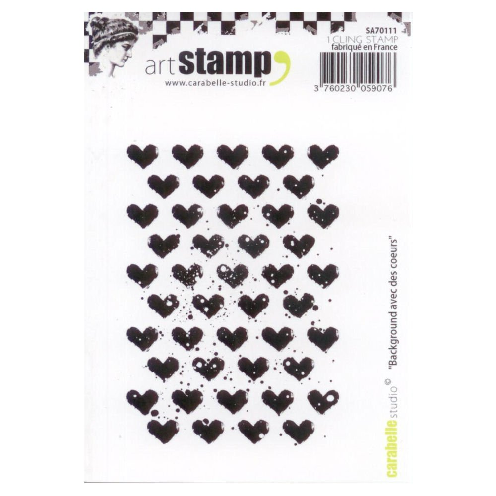 Carabelle Studio A7 Unmounted Stamp - Background With Hearts