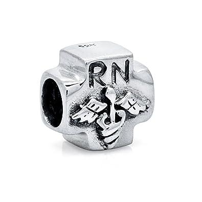 Rn Registered Nurse Medical Symbol 925 Sterling Silver Bead Fits