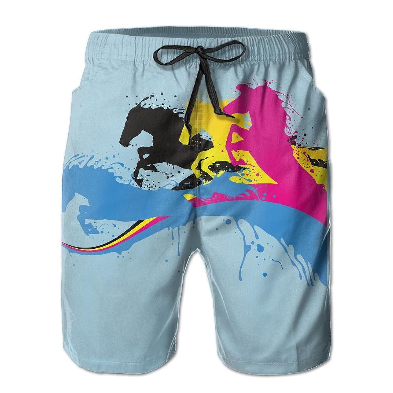Poop Lool Mens Colorful Horse Beach Short Pant Swimming Pants Sandy