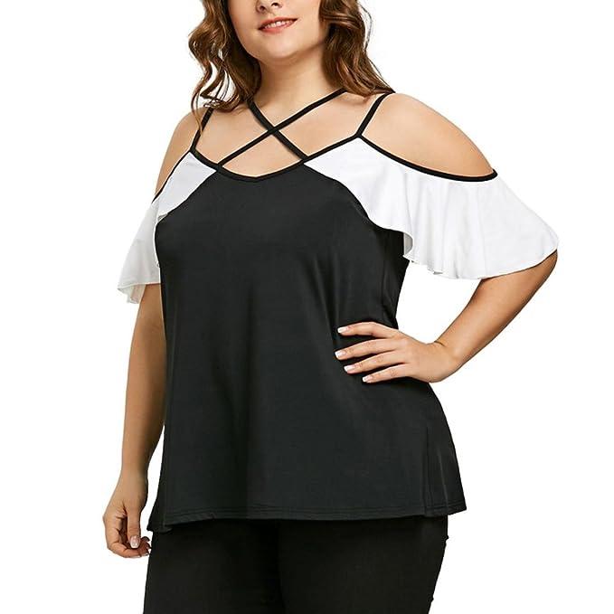 3900e37ac70d Damen Sommer T-Shirt, Damen Sexy Cold Shoulder T-Shirt Elegante Blusen Tops  Party Oberteile mit Schnürung und Volant Frauen Große Größen Schwarz-Weißes  ...