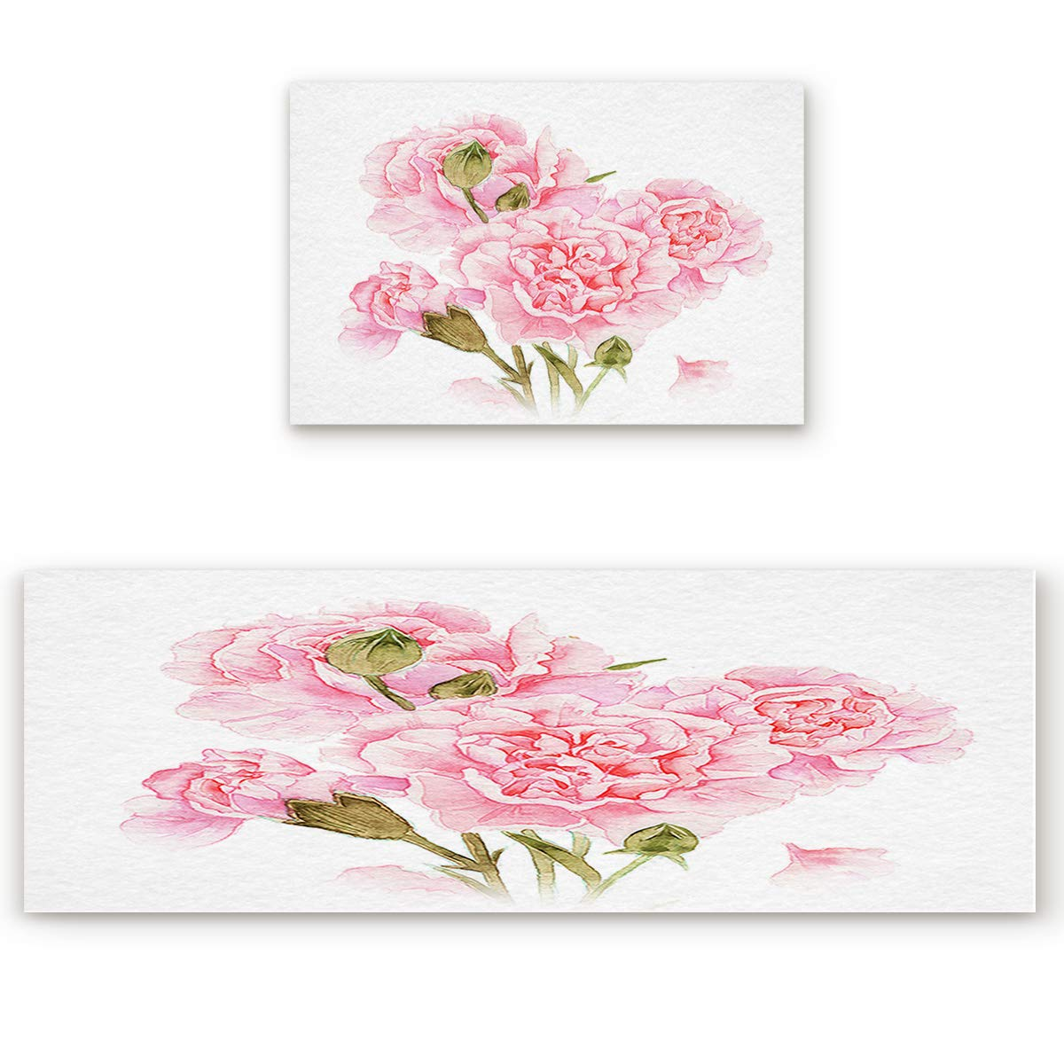 23.6\ SODIKA 2 Pieces Kitchen Rug Set,Non-Skid Slip Washable Doormat Floor Runner Bathroom Area Rug Carpet,Happy Mother's Day Pink Floral Carnation (23.6x35.4in+23.6x70.9 inches)