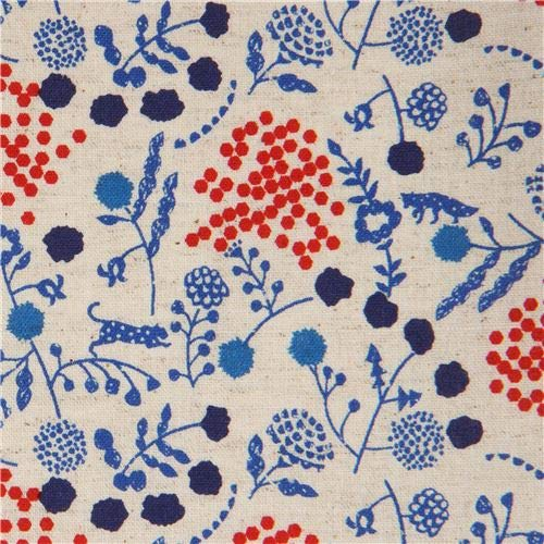Cotton linen natural color sheeting fabric by echino with flower and fox pattern (per 0.5 yard unit)