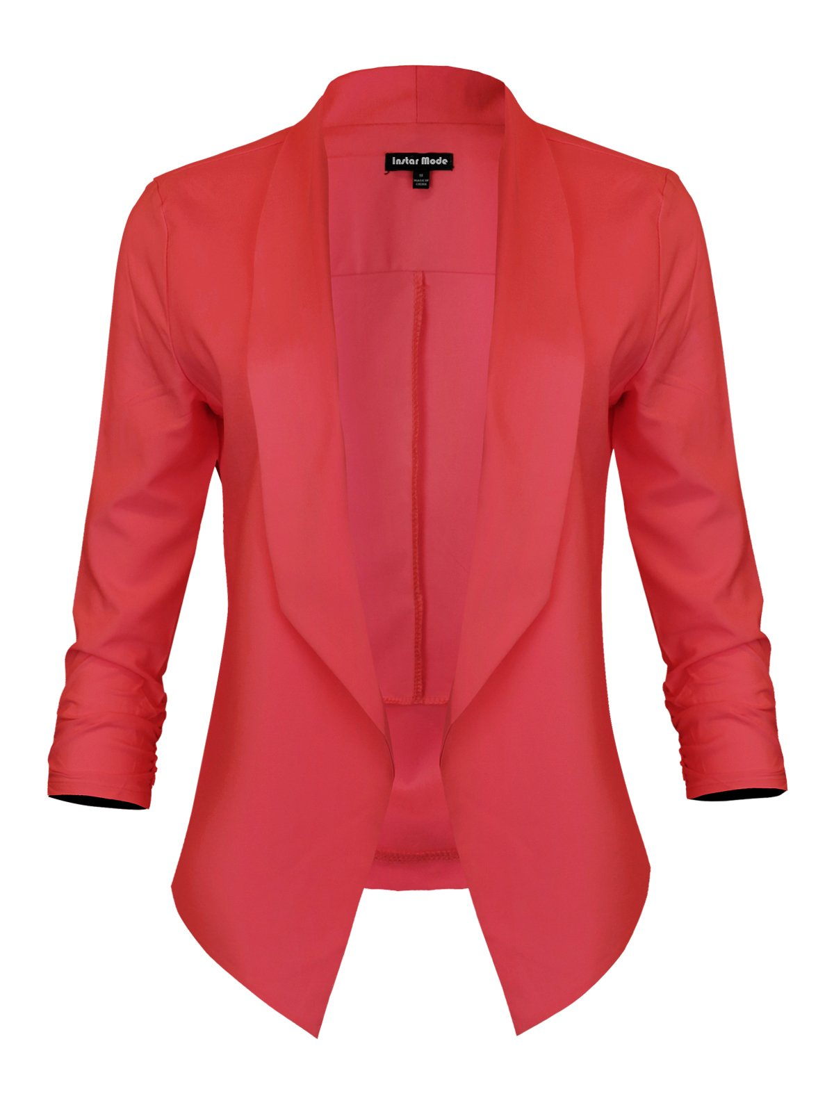 Instar Mode Women's Lightweight Fly Away Thin Chiffon Ruched Sleeve Opened Blazer (B610117 Coral, Small)