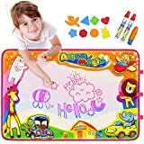 """Aqua Magic Mat, Betheaces Kids Toys Large Water Drawing Mat Toddlers Painting Board Writing Mats in 6 Colors with 2 Magic Pens and 1 Brush for Boys Girls Educational Gift Size 34.5 X 22.5"""""""