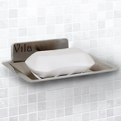 Amazoncom Vila Selfadhesive Soap Holder Wall Mounted Shower - Ceramic soap dish adhesive