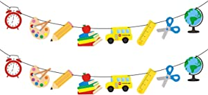 Back to School Decorations for Classroom - 2 Garland with School Props | Teacher Decorations for Classroom | First Day of School Decorations for Teachers for Classroom | Back to School Banner Props