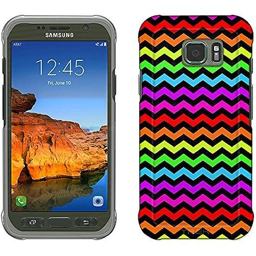 Samsung Galaxy S7 Active Case, Snap On Cover by Trek Chevron Rainbow Black Slim Case Sales