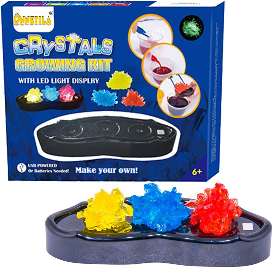 Crystal Growing Science Kit for Kids with Light-Up Display - Grow Your Own Crystals Science Experimental Garden Kit - STEM Crystal Making Kit for Boys and Girls