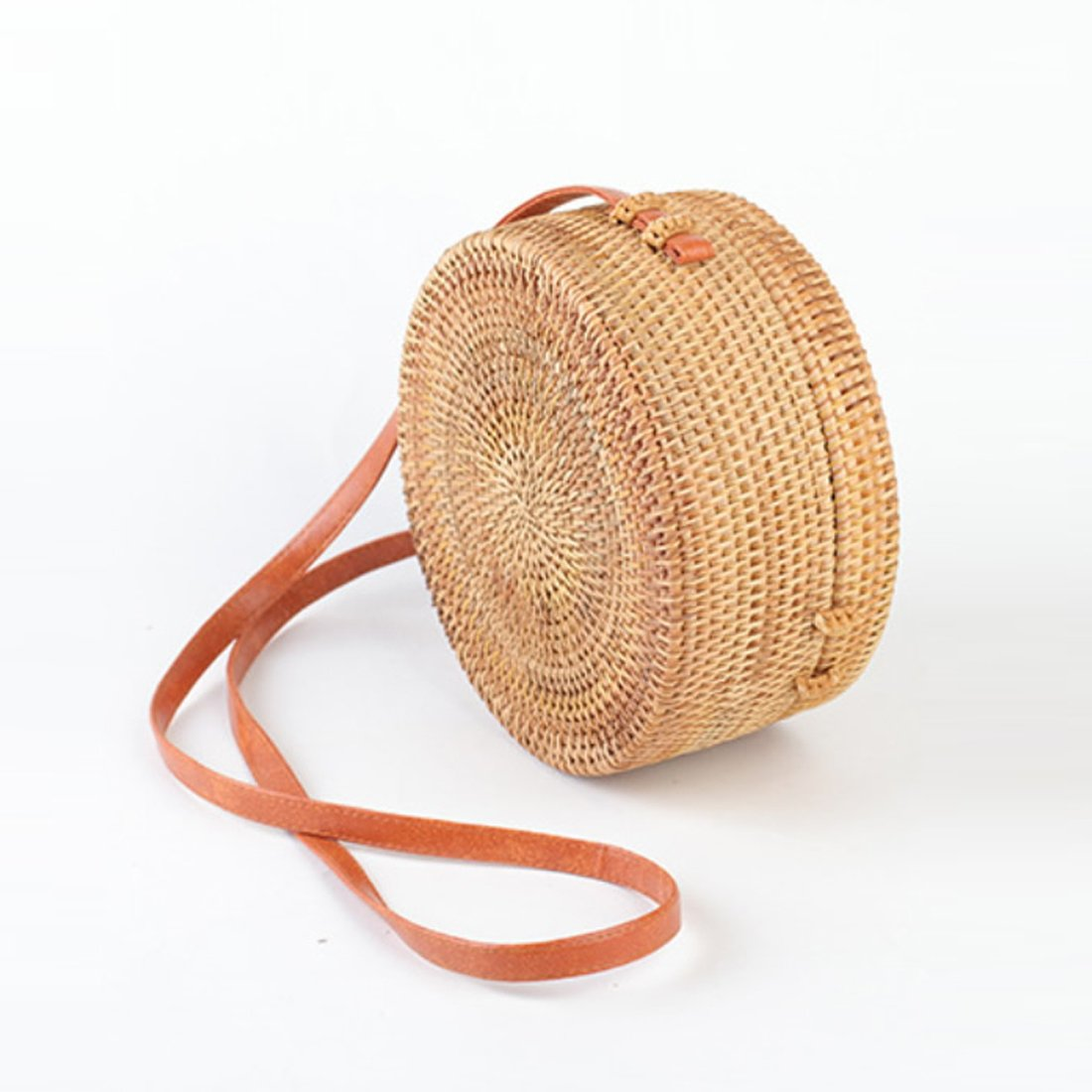 Straw Crossbody Bag, Vintage Handwoven Round Ata Rattan Shoulder Bag Straw Purse with Bow Clasp by KNUS (Image #1)