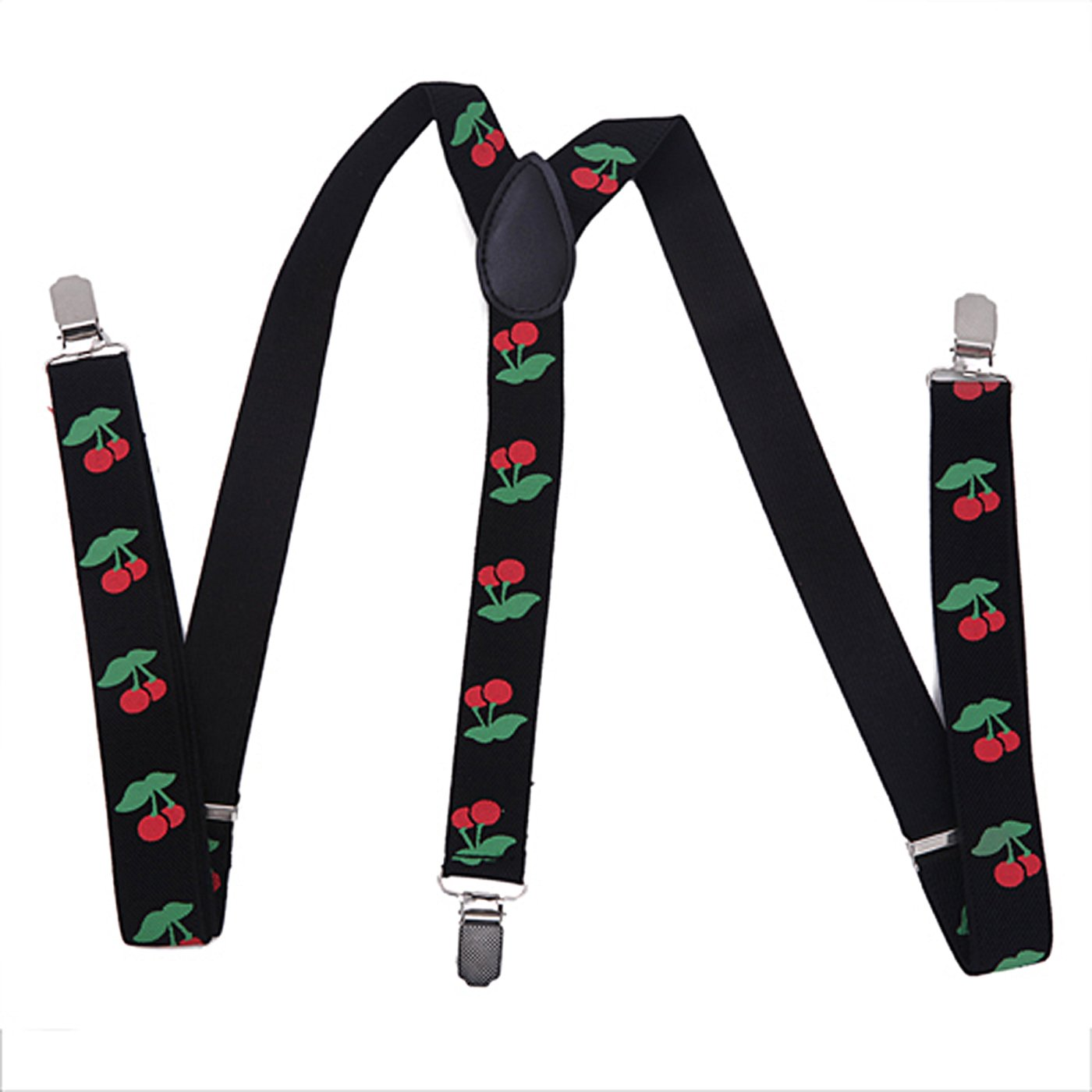 HDE Mens Cherry Suspenders 1 Inch Wide Y-Back Adjustable Elastic Shoulder Strap
