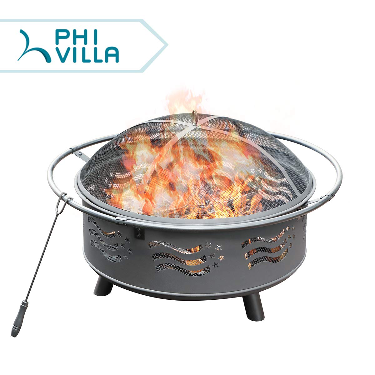 PHI VILLA 32 Fire Pit Large Steel Patio Fireplace Cutouts Pattern with Poker /& Spark Screen