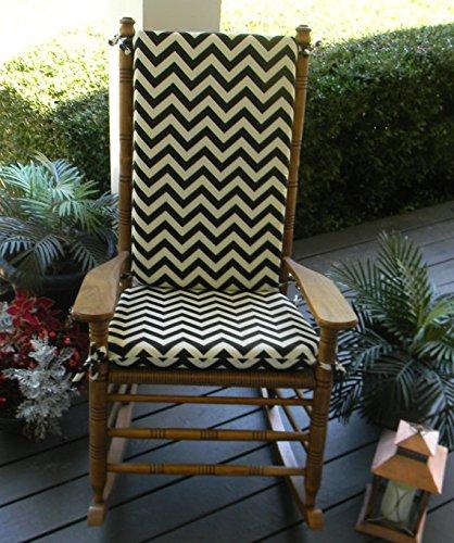Indoor / Outdoor Black and Ivory Chevron / Zig Zag Print Rocking Chair 2 Pc Foam Cushion Set ~ Fits Cracker Barrel Rocker