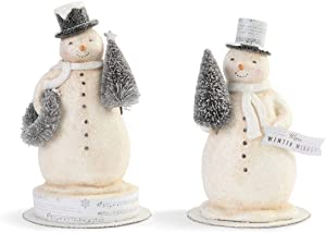 DEMDACO Winter Wishes Snowman Winter White 9 x 6 Paper Pulp Holiday Figurines Set of 2
