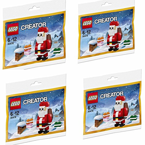 LEGO Creator 30478 Jolly Santa Christmas Polybagged 74 Piece Set - 4 Sets