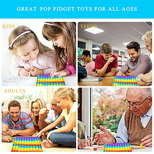 Big Pop Fidget Toys Sensory Rainbow Square Large Giant Huge Popper Figetget Autism Special Needs Silicone Pressure Relieving Games Gifts Popular Autistic