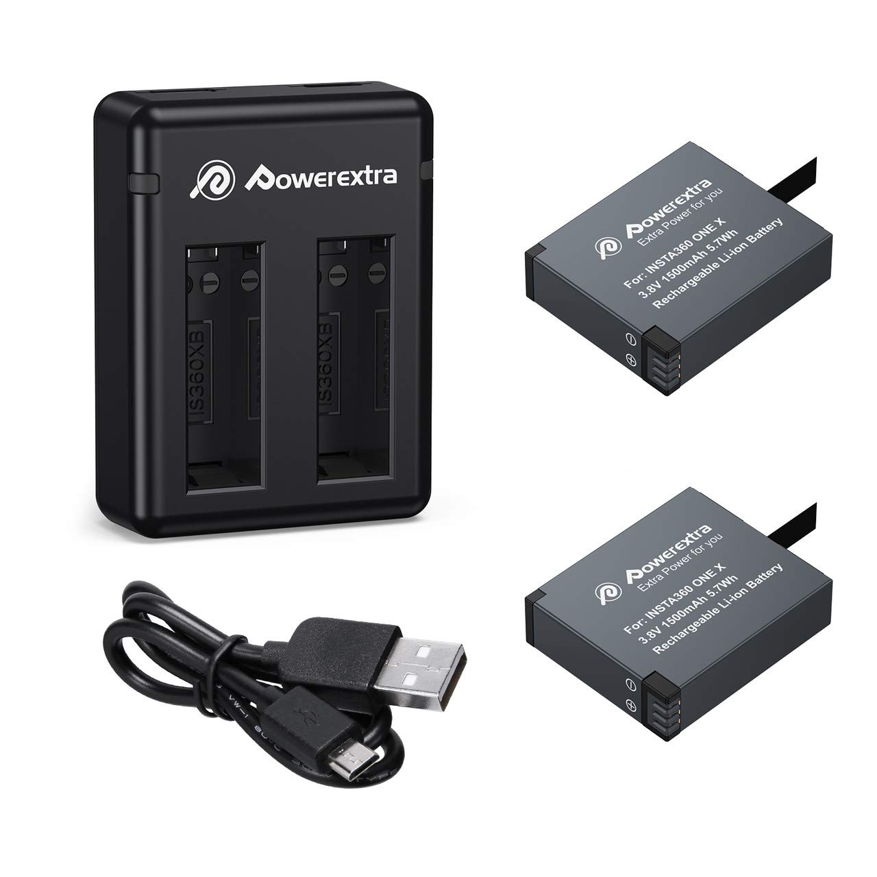 Powerextra 2 x 1500mAh Battery and Charger Compatible with Insta360 ONE X by Powerextra