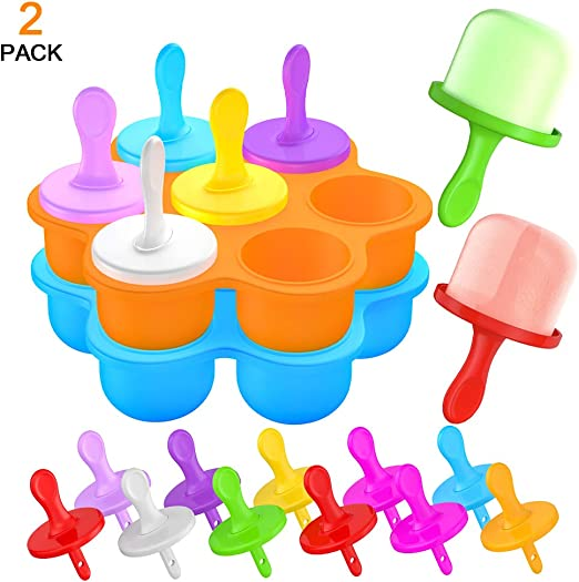 7 Cavity Mini Silicone Popsicle Moulds Ice Cream Makers Reusable DIY Frozen for Kids,Toddlers and Adults Ice Lolly Moulds Blue